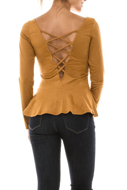 Suede Open Back Top - orangeshine.com