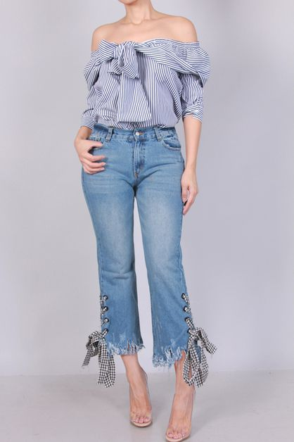 CHECKER LACE UP DENIM JEAN - orangeshine.com