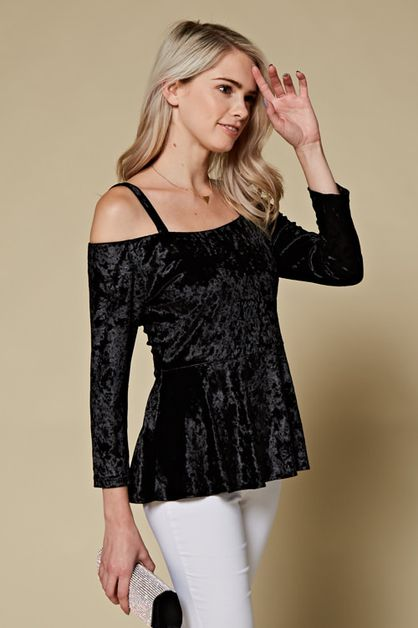 SOLID COLD SHOULDER VELVET TOP - orangeshine.com