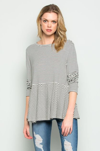 RUFFLE  LONG SLEEVE    - orangeshine.com