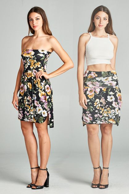 2-IN-1 FLORAL DRESS AND SKIRT - orangeshine.com