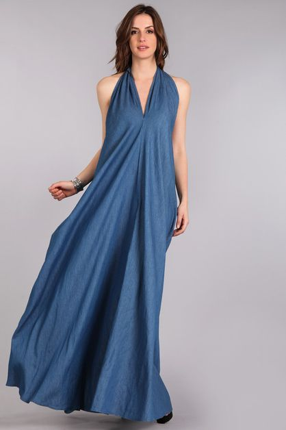 DENIM HALTER DRESS - orangeshine.com