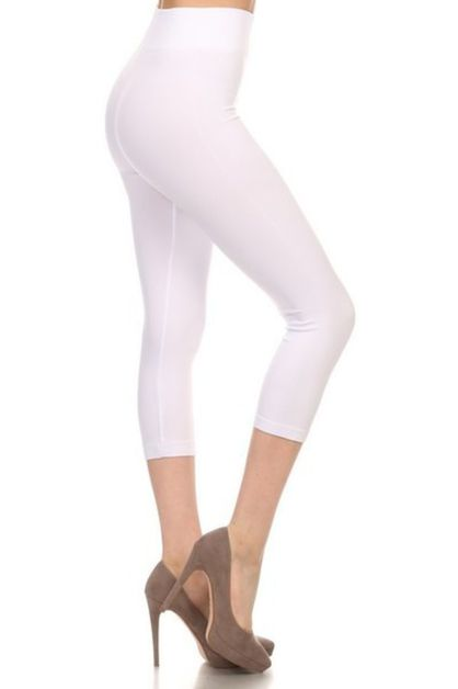 SOLID COLOR BASIC CAPRI LEGGINGS - orangeshine.com