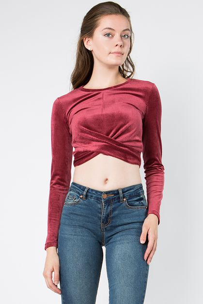 STRIPE VELVET CROP TOP - orangeshine.com