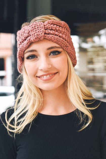 Rolled Bow Knit Headband - orangeshine.com