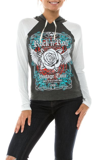 Rock and Roll Graphic Hoodie - orangeshine.com
