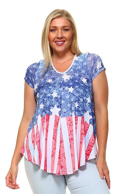 American Flag Print Top - orangeshine.com
