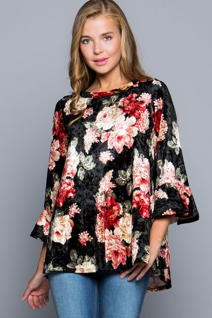 ROSE PRINT VELVET TOP  - orangeshine.com