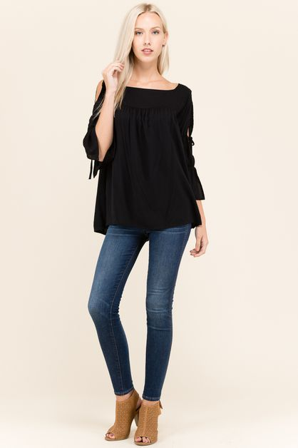 SLEEVE TIE SQUARE NECK BLOUSE - orangeshine.com