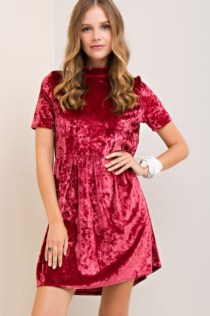Solid Velvet A-line Dress - orangeshine.com