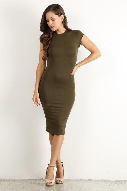Olive Bodycon Dress - orangeshine.com