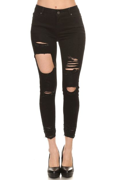 Distressed ankle skinny fit denim - orangeshine.com