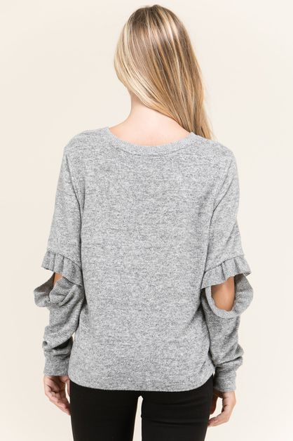BRATTON RUFFLED OPEN ELBON SWEATER   - orangeshine.com