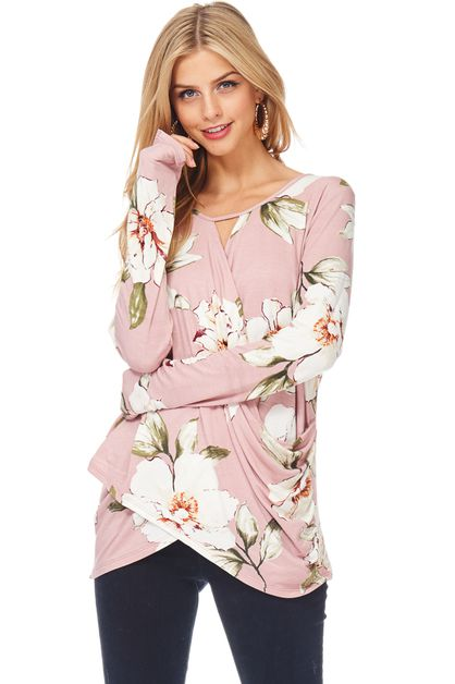 LONG SLEEVE FLORAL TOP - orangeshine.com
