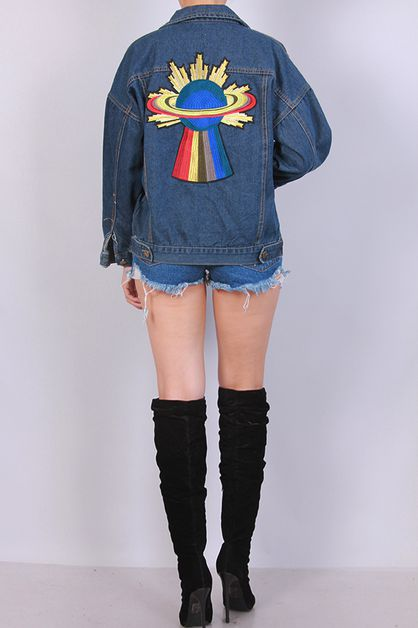 OVER SIZED DENIM JACKET PATCH BACK - orangeshine.com