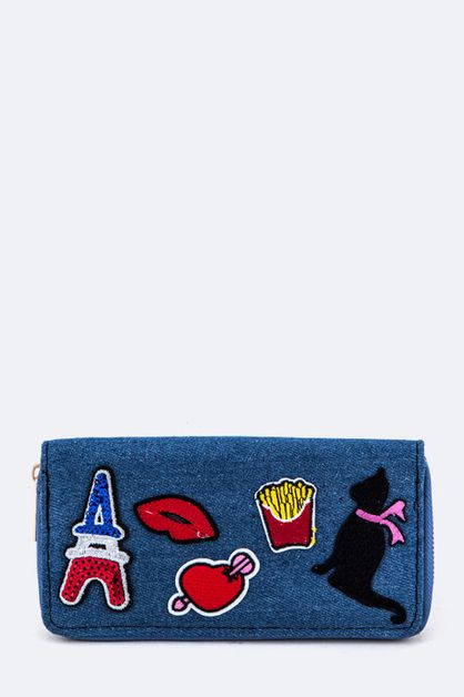 Mix Patches Denim Wallet - orangeshine.com