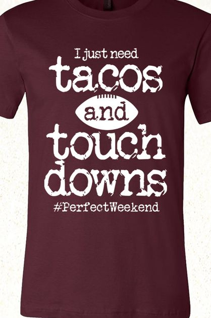 Tacos and Touchdowns Football Tee - orangeshine.com