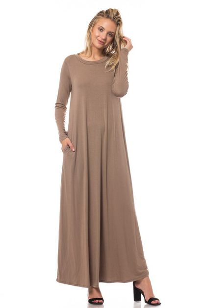 LONG SLEEVE SOLID MAXI DRESS  - orangeshine.com