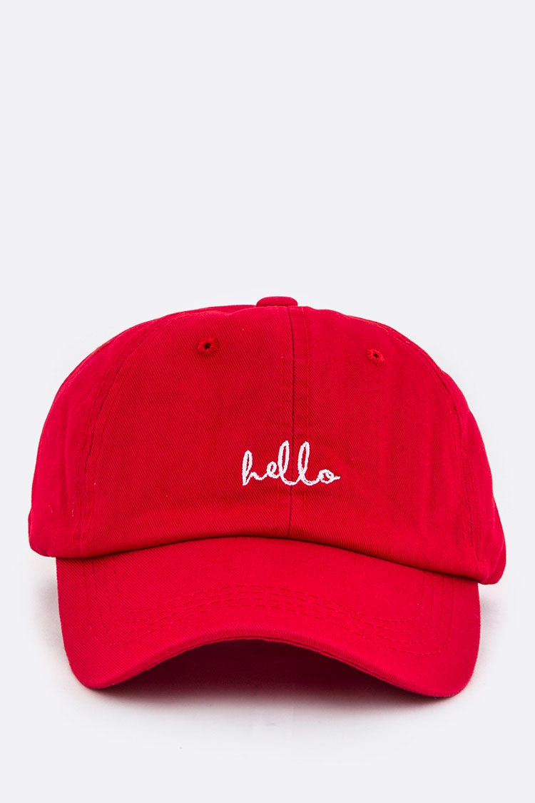 Hello Embroidery Cotton Cap - orangeshine.com