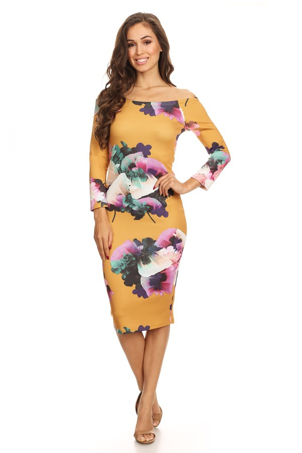 Mixed flower printed midi dress  - orangeshine.com
