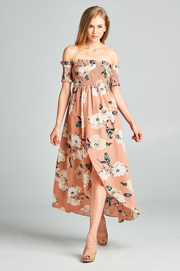 Floral Off Shoulder Dress - orangeshine.com