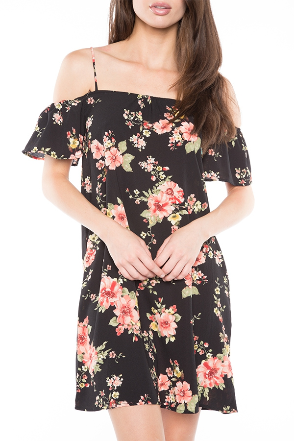 FLORAL OFF SHOULDER MINI DRESS - orangeshine.com