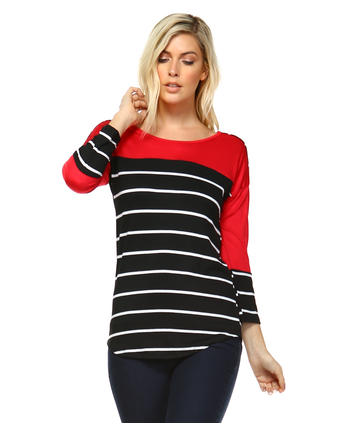 Color Block Stripe Top - orangeshine.com