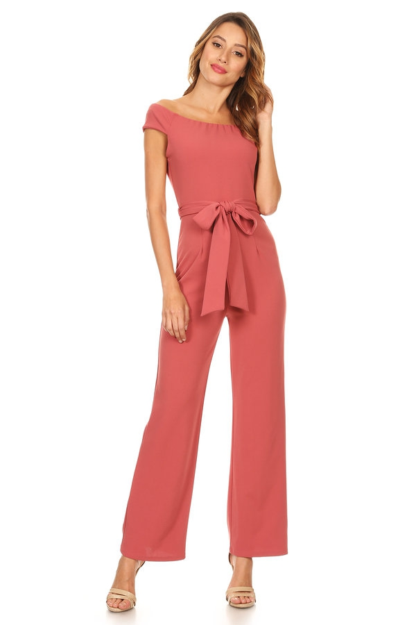 Solid off shoulder jumpsuit  - orangeshine.com