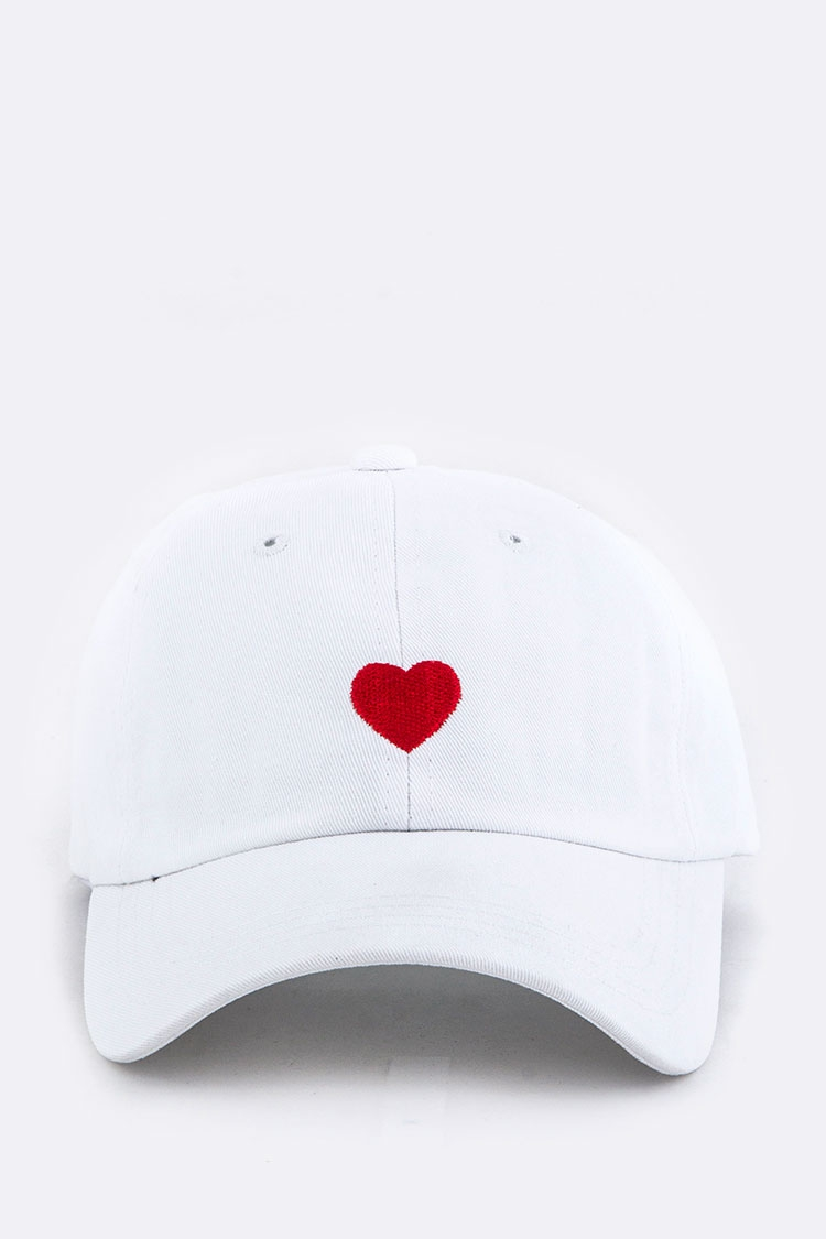 Heart Embroidery Cotton Cap - orangeshine.com