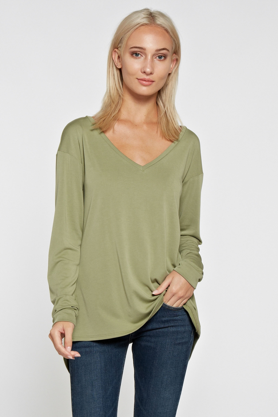 Split Back Long Sleeve Top - orangeshine.com