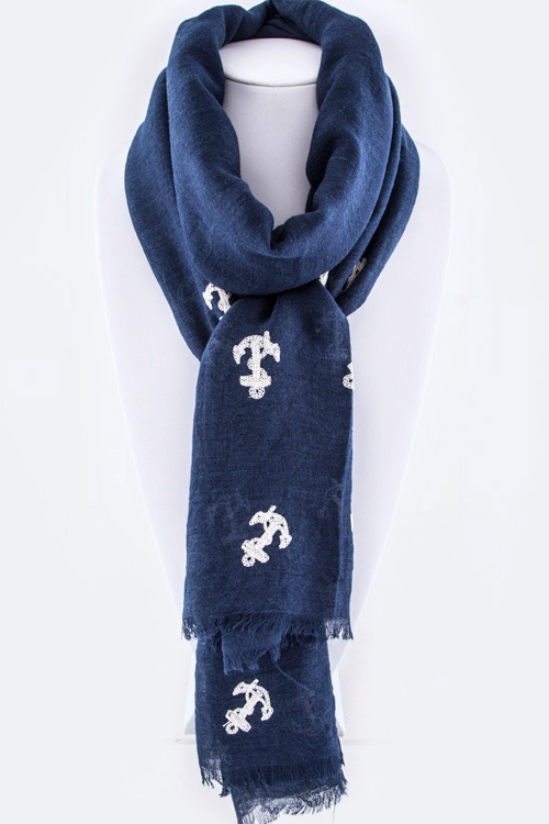 Anchor Embroidery Fashion Scarf - orangeshine.com