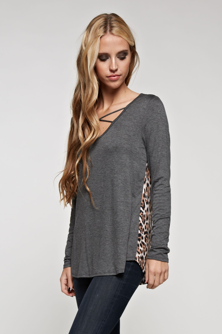 CRISSCROSS ANIMAL PRINT TOP - orangeshine.com