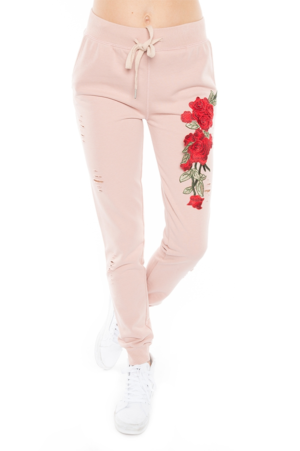 FRENCH TERRY SWEAT PANTS WITH FLOWER - orangeshine.com
