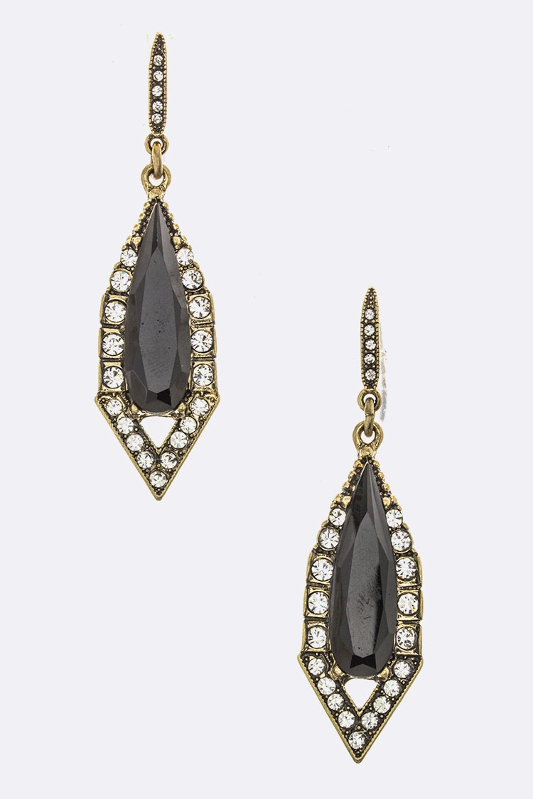 Mix Crystal Teardrop Earrings - orangeshine.com