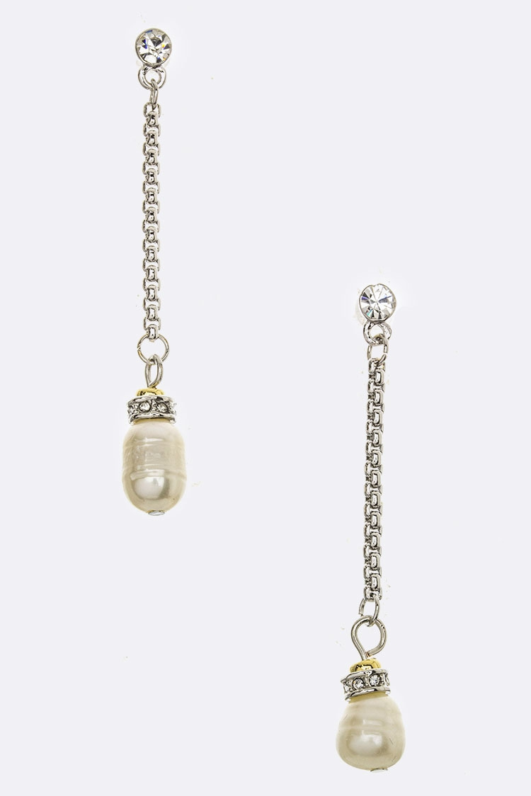 Crystal and Pearl Drop Earrings - orangeshine.com