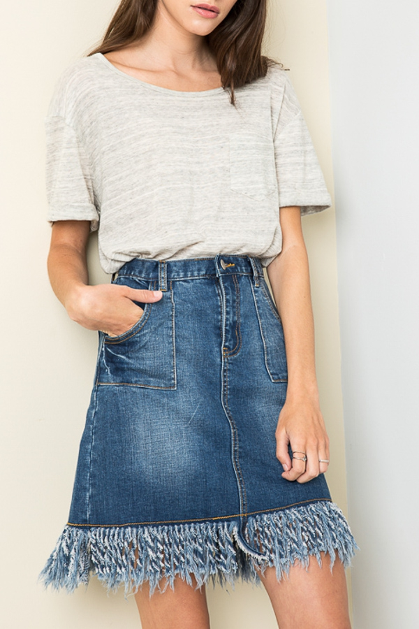 WASHED DENIM SKIRT - orangeshine.com