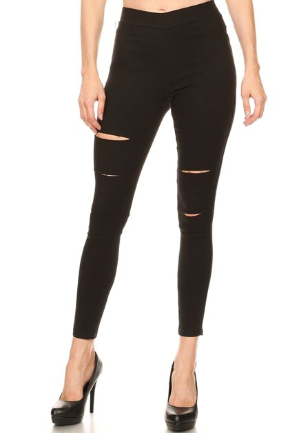 DISTRESSED SOLID COLOR STRETCH PANTS - orangeshine.com