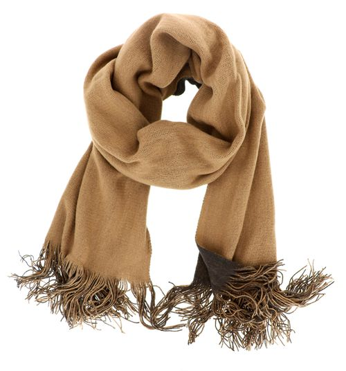 Dual Tone Tan Brown Oblong Scarf - orangeshine.com
