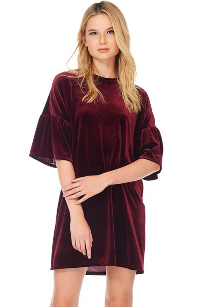 FLARED-SLEEVE VELVET DRESS - orangeshine.com
