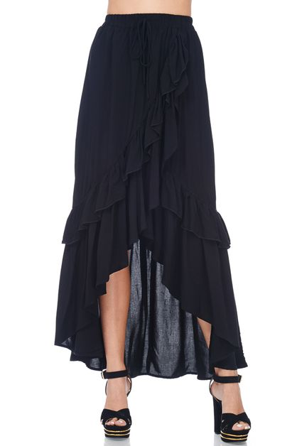 RUFFLE DETAILED BOHO SKIRT - orangeshine.com
