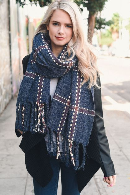 Chunky Plaid Blanket Scarf - orangeshine.com