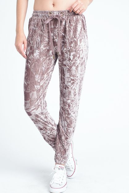 CRUSHED VELVET CASUAL PANTS - orangeshine.com