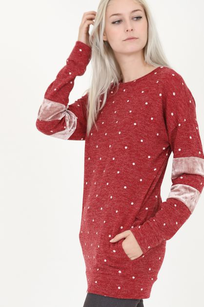 long sleeve velvet accent polka dot  - orangeshine.com