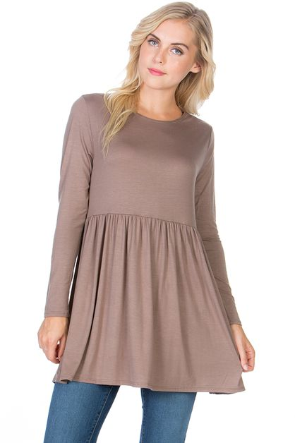 Long Sleeve Ruffle Hem Tunic  - orangeshine.com
