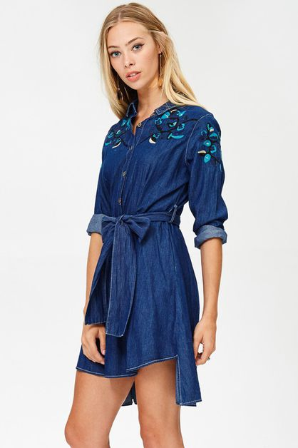 BOHO LEAF EMBROIDERY SHIRT DRESS - orangeshine.com