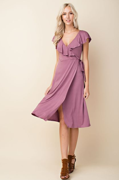 Ruffle Midi Wrap Dress - orangeshine.com