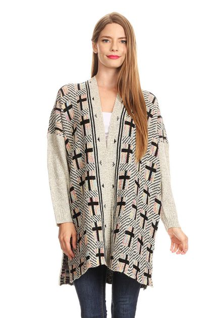 cross print knit cardigan - orangeshine.com