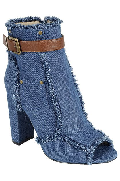 DENIM CHUNKY HEELS BOOTIES - orangeshine.com