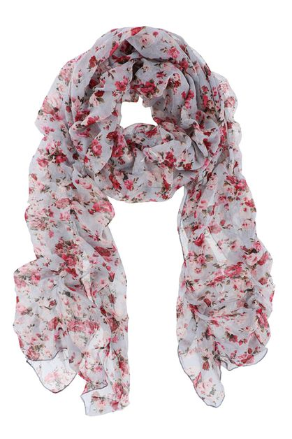 Grey Floral Oblong Scarf - orangeshine.com