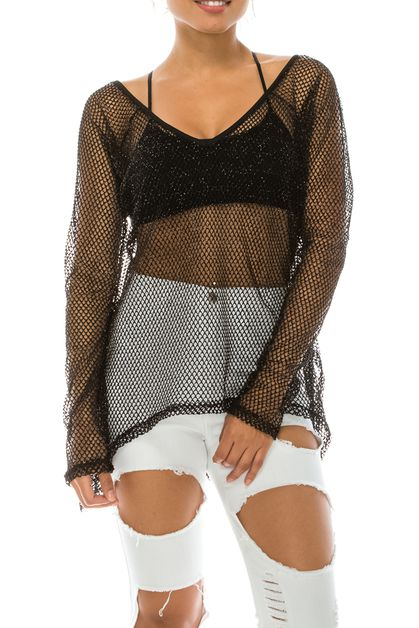 FISHNET KNIT TOP  - orangeshine.com